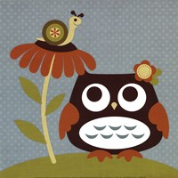 Owl Looking at Snail Fine Art Print