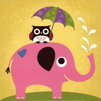 Elephant and Owl with Umbrella Fine Art Print