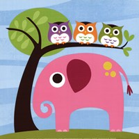 Elephant with Three Owls Fine Art Print