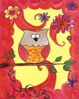"""Owl In Pink Swirl by Serena Bowman - 11"""" x 14"""", FulcrumGallery.com brand"""