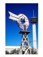 USA, Texas, San Antonio, Tower of the Americas and old windmill - various sizes - $29.99
