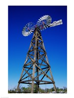 Low angle view of a windmill at American Wind Power Center, Lubbock, Texas, USA - various sizes