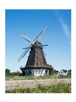 Traditional windmill in a field, Malmo, Sweden Fine Art Print
