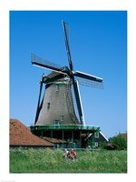 Windmill and Cyclists, Zaanse Schans, Netherlands - various sizes