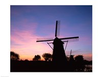 Silhouette, Windmills On Purple Sunset, Kinderdijk, Netherlands Fine Art Print