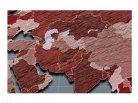 Close-up of a world map - red and blue - various sizes