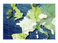Close-up of a world map - blue and green - various sizes
