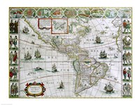 Map of North and South America, Joan Bleau, 1630 Fine Art Print