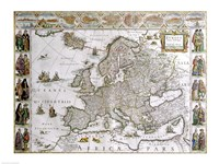 Close-up of the map of Europe, Joan Bleau, 1630 Fine Art Print