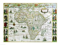 Close-up of the map of Africa, Joan Bleau, 1630 Fine Art Print