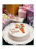 High angle view of a birthday cake with gifts Fine Art Print