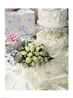 Cake with rings and gifts on a sheet Fine Art Print