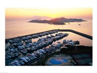 Sunrise over Peng Chau Island with Discovery Bay Marina in foreground, Hong Kong, China - various sizes - $29.99