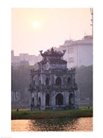 Pagoda at the water's edge during sunrise, Hoan Kiem Lake and Tortoise Pagoda, Hanoi, Vietnam - various sizes