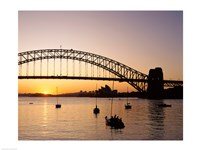 Sunrise over a bridge, Sydney Harbor Bridge, Sydney, Australia Fine Art Print