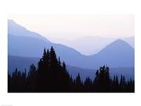Silhouette of mountains at sunrise, Mt Rainier, Mt Rainier National Park, Washington State, USA - various sizes, FulcrumGallery.com brand