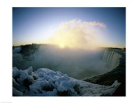 Sunrise over a waterfall, Niagara Falls, Ontario, Canada Fine Art Print