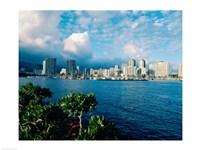 Buildings on the waterfront, Waikiki Beach, Honolulu, Oahu, Hawaii, USA - various sizes