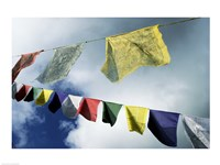 Low angle view of prayer flags, Kathmandu, Nepal Fine Art Print