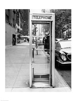 Car parked at the side of a road near a telephone booth Fine Art Print