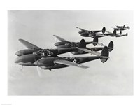 Four fighter planes in flight, P-38 Lightning Framed Print