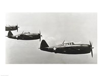 Three fighter planes, P-47 Thunderbolt Fine Art Print