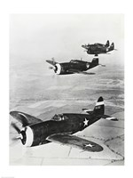 Three fighter planes in flight, P-47 Thunderbolt Fine Art Print