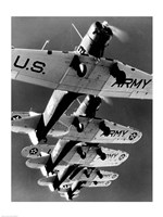 Low angle view of five fighter planes flying in formation - various sizes