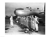 Group of army soldiers standing in a row near a fighter plane, B-29 Superfortress - various sizes