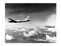 Side profile of a military tanker airplane refueling in flight, B-29 Superfortress, F-84 Thunderjet - various sizes