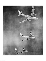 Low angle view of three fighter planes in flight, B-47 Stratojet - various sizes