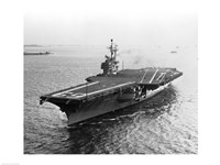 High angle view of an aircraft carrier in the sea, USS Forrestal (CVA-59) Framed Print