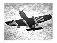 Low angle view of a fighter plane carrying missiles in flight, Martin AM-1 Mauler, US Navy Fine Art Print