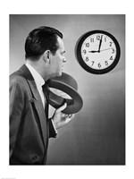 Businessman looking at clock Fine Art Print
