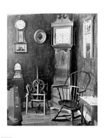 Antique clocks in a living room - various sizes