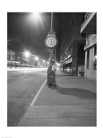 Night view with street clock and mailbox Fine Art Print