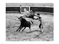 Matador fighting with a bull Fine Art Print