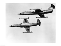 Two fighter planes in flight, F-104C Starfighter, Tactical Air Command, 831st Air Division, George Air Force Base - various sizes, FulcrumGallery.com brand