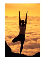 Silhouette of a young woman practicing yoga, Maui, Hawaii Fine Art Print