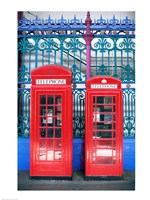 Two telephone booths near a grille, London, England - various sizes, FulcrumGallery.com brand