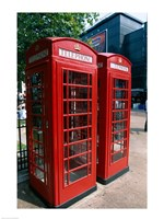 Two telephone booths, London, England Fine Art Print