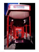 Close-up of a telephone booth, Santiago, Chile Fine Art Print