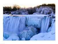 Waterfall frozen in winter, American Falls, Niagara Falls, New York, USA Framed Print