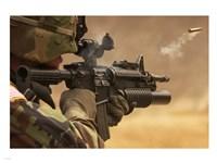 M4 Carbine Firing Fine Art Print