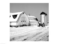 Farmer on Tractor Clearing Snow Away - various sizes