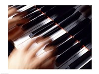 Close-up of a person's hands playing a piano Fine Art Print