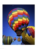 Brightly Colored Hot Air Balloon with Basket - various sizes