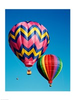 Hot Pink and Navy Blue Air Balloon Floating in the Sky Fine Art Print