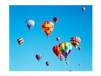 Group of Hot Air Balloons Floating Together in Albuquerque, New Mexico Fine Art Print