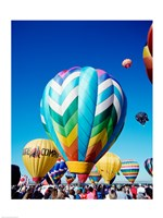 Hot air balloons taking off, Albuquerque International Balloon Fiesta, New Mexico - various sizes